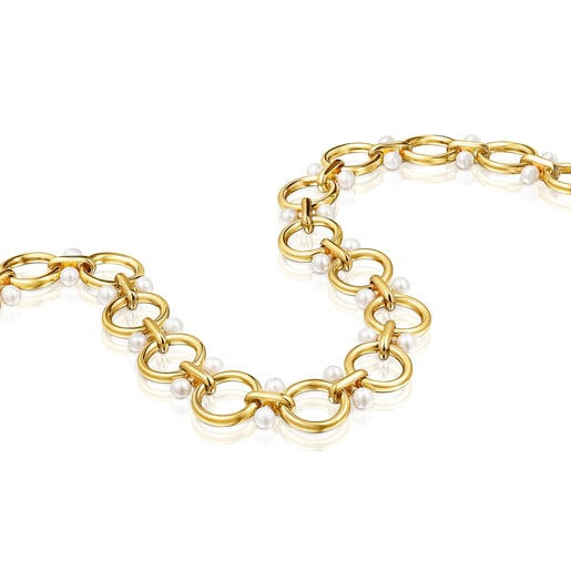 Silver Vermeil Hold rings Necklace with Pearls