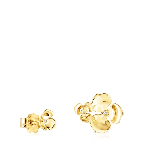 Gold Fragile Nature disparate Earrings with Diamonds
