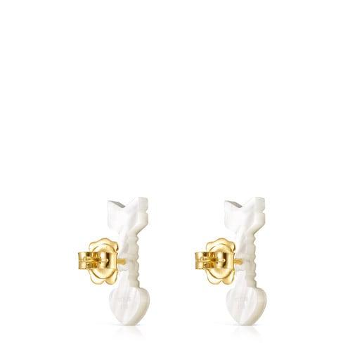 Aros San Valentín flecha de Oro y Nácar