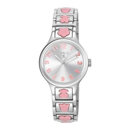 Ρολόι Dolls από ατσάλι με ροζ μοτίβα από σιλικόνη