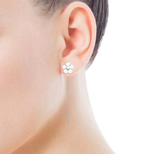Long Silver Vita Flower Earrings