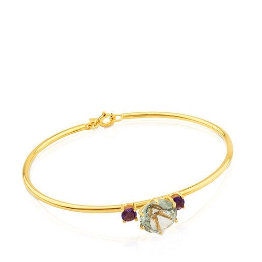 Gold Ivette Bracelet with Praseolite and Amethyst