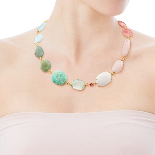 Gold Ethereal Necklace with Gemstones