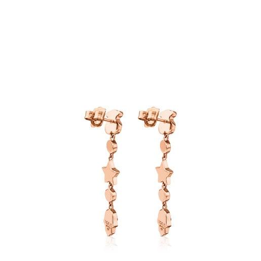 Boucles d'oreilles Super Power en Argent Vermeil rose avec Pierres précieuses