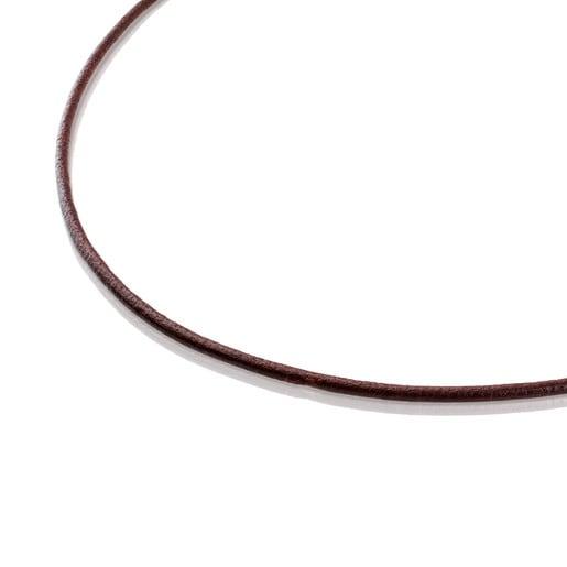 Gargantilla TOUS Chokers de cuero de 2mm. en color marrón con cierre de oro, 45cm.