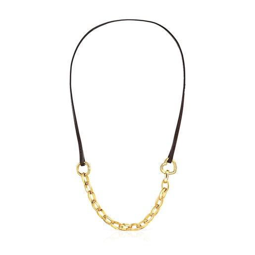 Bracelet – Collier Hold en Or Vermeil et Cuir marron