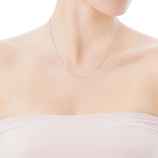 Silver TOUS Chain Choker with oval rings. 75cm.