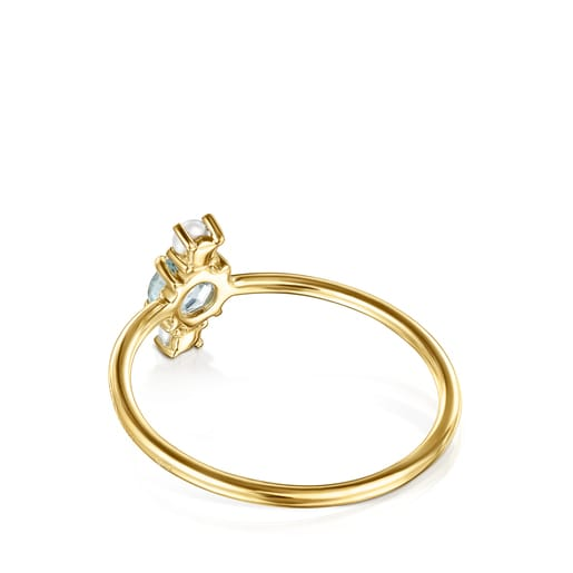 Mini Ivette Ring in Gold with Topaz and Pearl