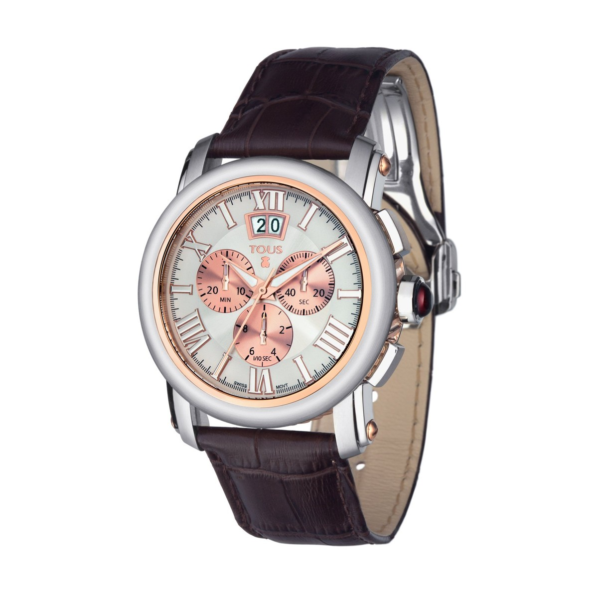 Two-tone pink IP/Steel Born Watch with brown Leather strap