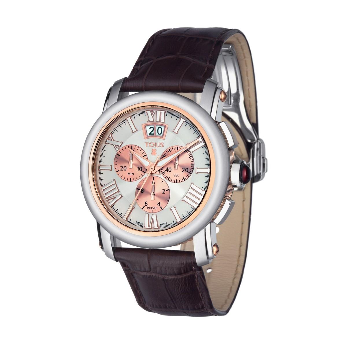 Relógio Born bicolor em Aço IP rosado com correia de Pele castanha