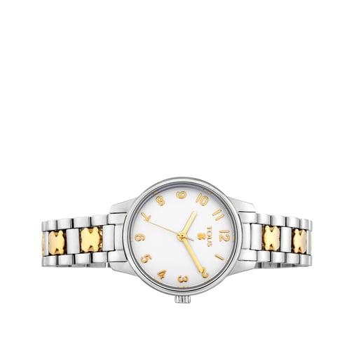 Uhr Beary aus Stahl mit goldfarbenem IP-Bären-Armband