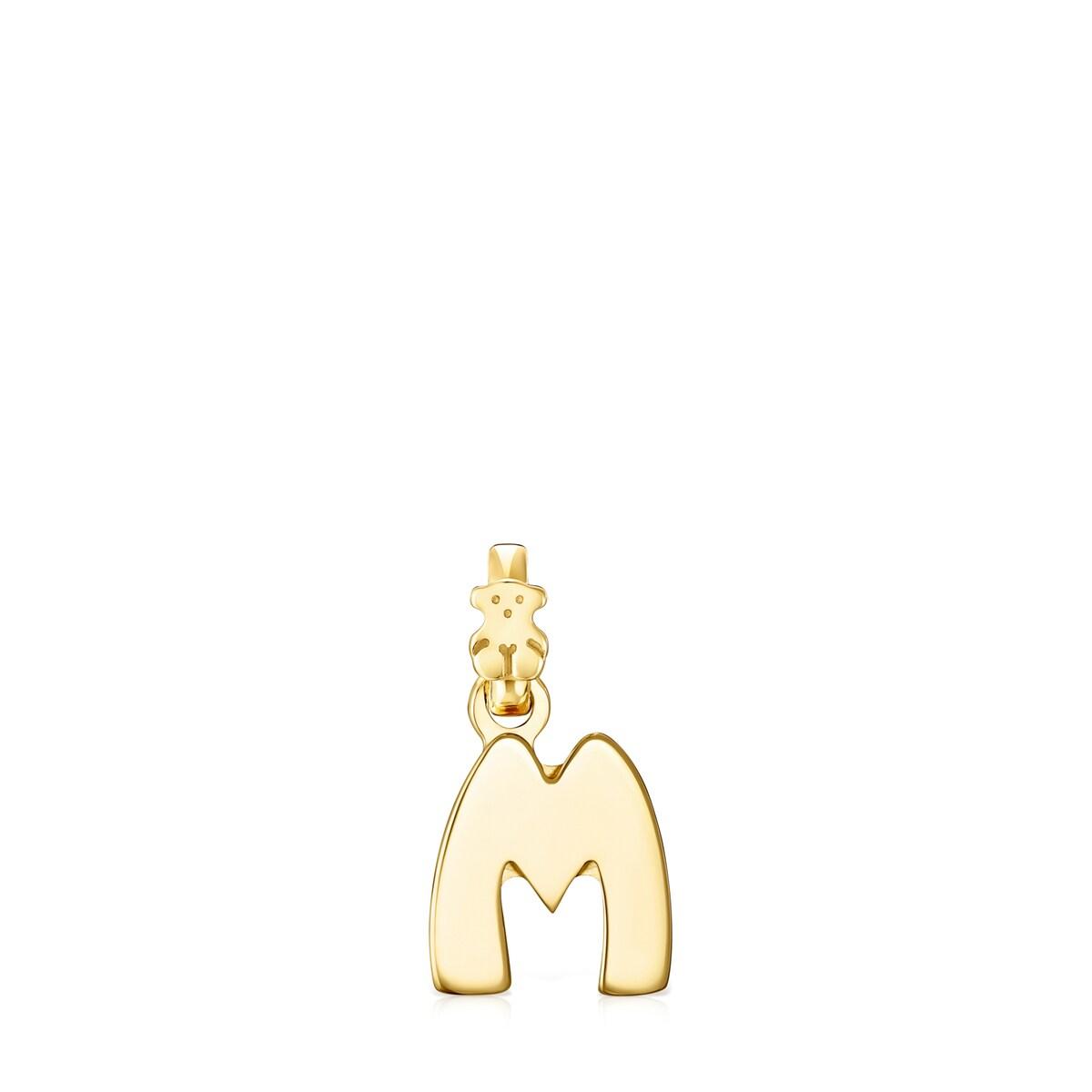 seleccione para el último la venta de zapatos brillo encantador Colgante Alphabet letra M de Oro Vermeil