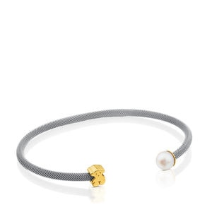 Steel and Gold Icon Mesh Bracelet with Pearl