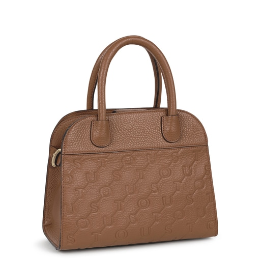 Small brown Leather T Script City bag