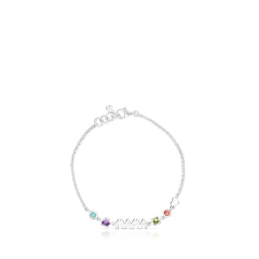 Silver TOUS Mama Bracelet with Gemstones
