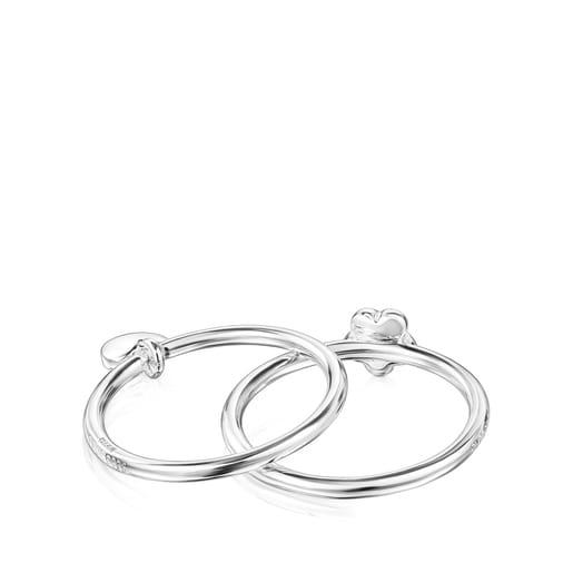 Silver TOUS Mini Icons flower-heart motifs Rings set