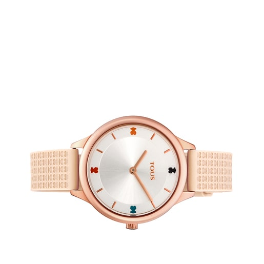 Pink IP Steel Tartan Watch with Nude Silicone Strap