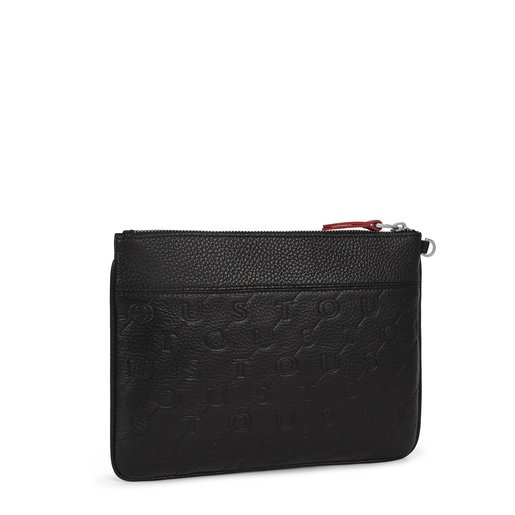 Black Leather T Script Clutch bag