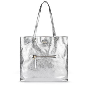 Large silver colored Leather Tulia Crack Shopping bag