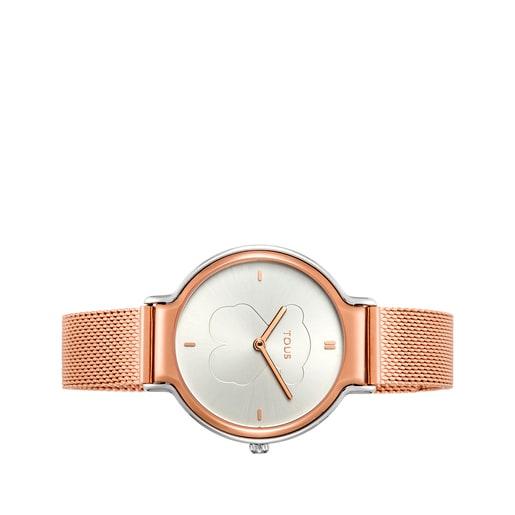 Reloj Real Bear bicolor de acero/IP rosado