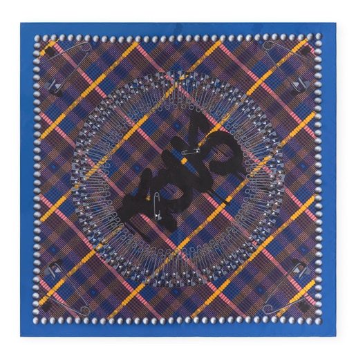 Black and blue Tile Exene Scarf