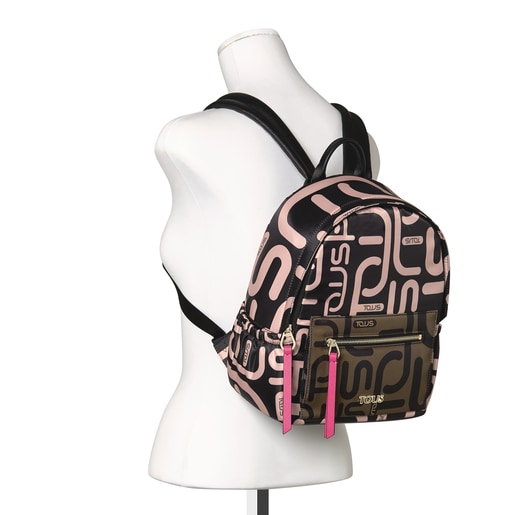 Khaki and pink Shelby Logogram Backpack