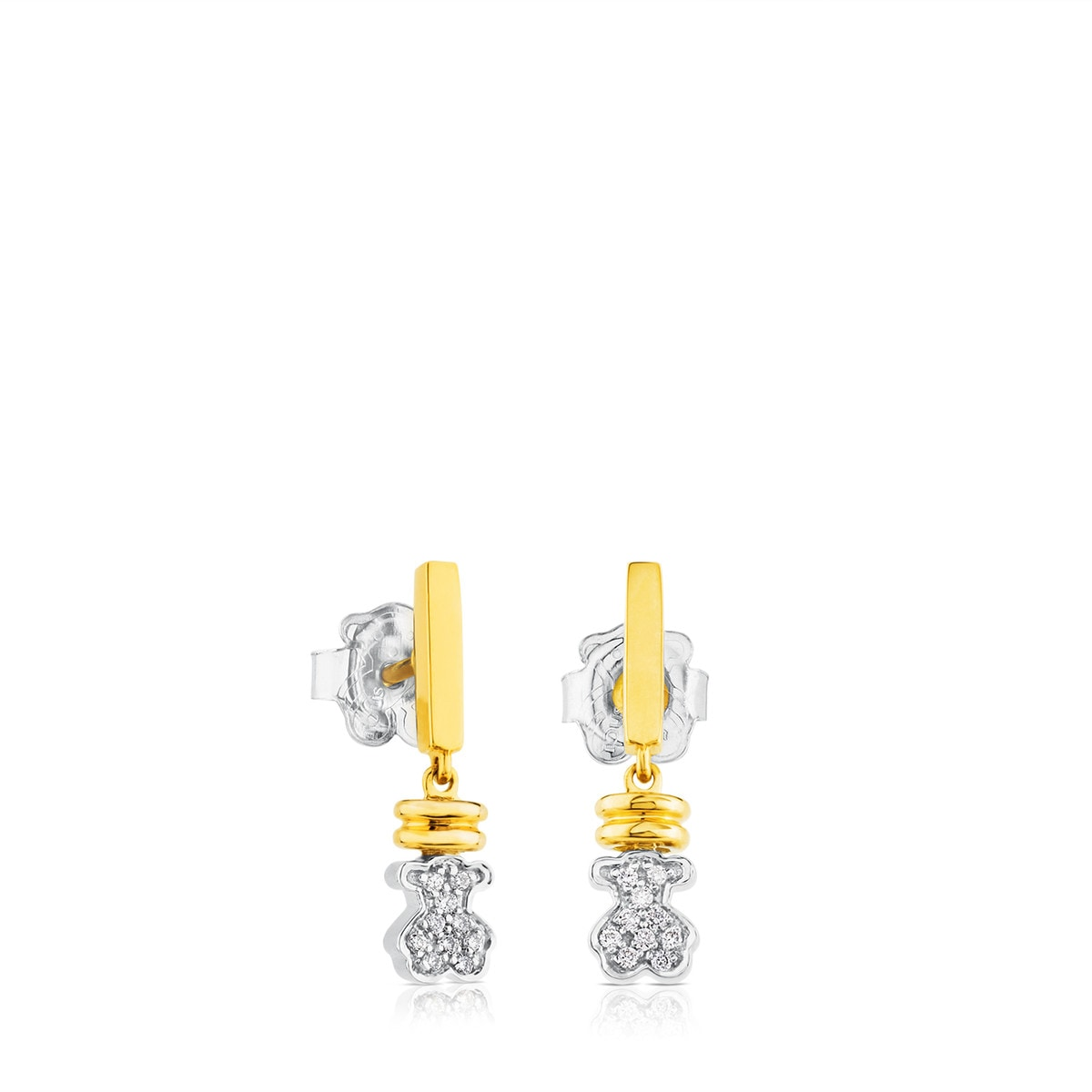White Gold TOUS Bear Earrings with Diamond