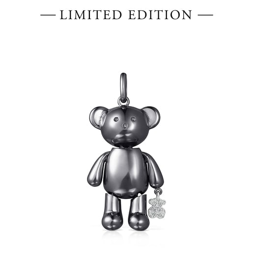 Large Titanium Teddy Bear Pendant with Diamonds – Limited Edition