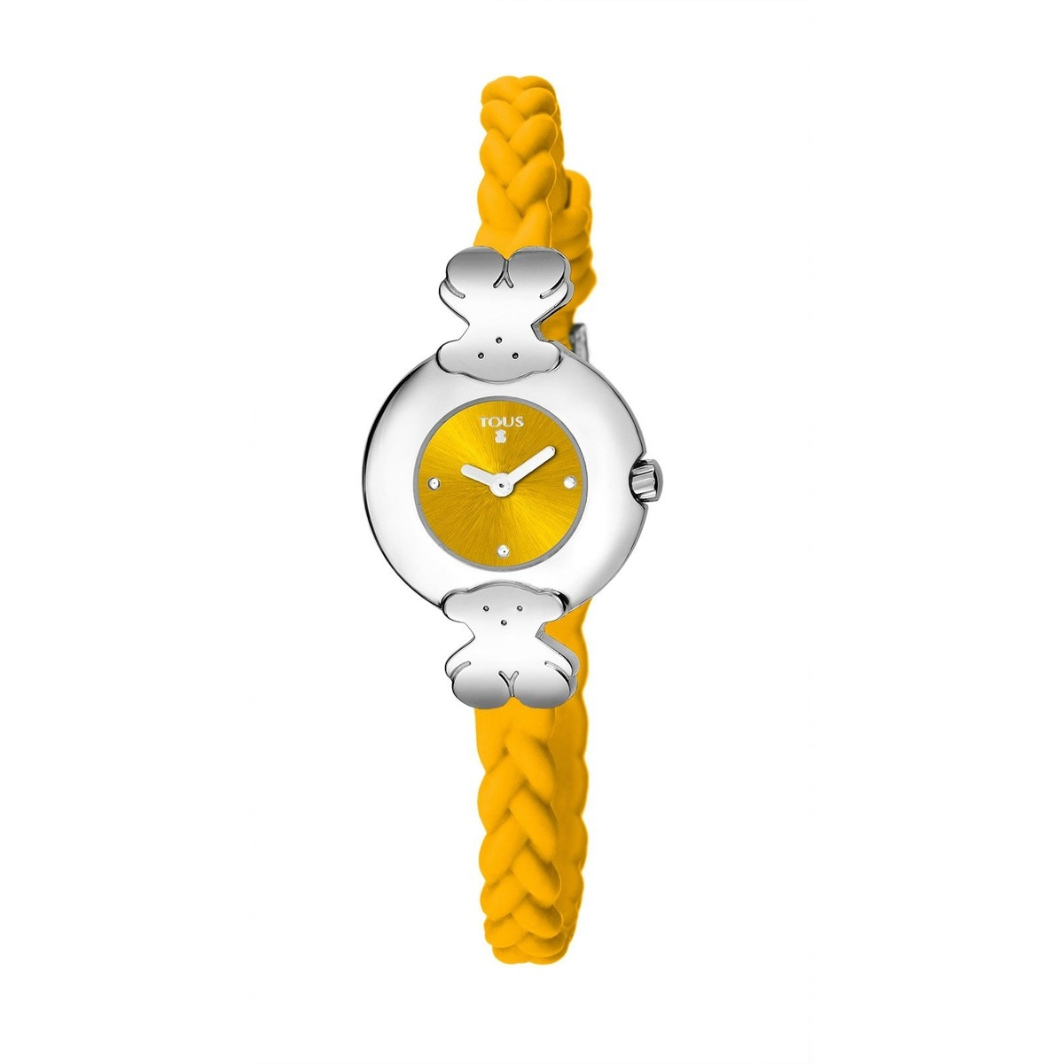 Steel Très Chic Watch with banana colored Silicone strap