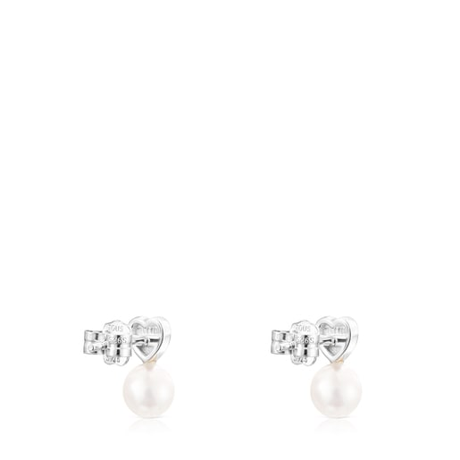 Silver Puppies heart Earrings with Pearl