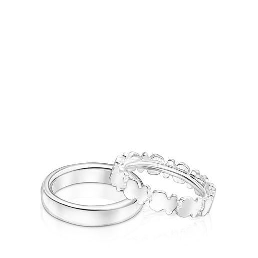 Set of Silver Straight Rings