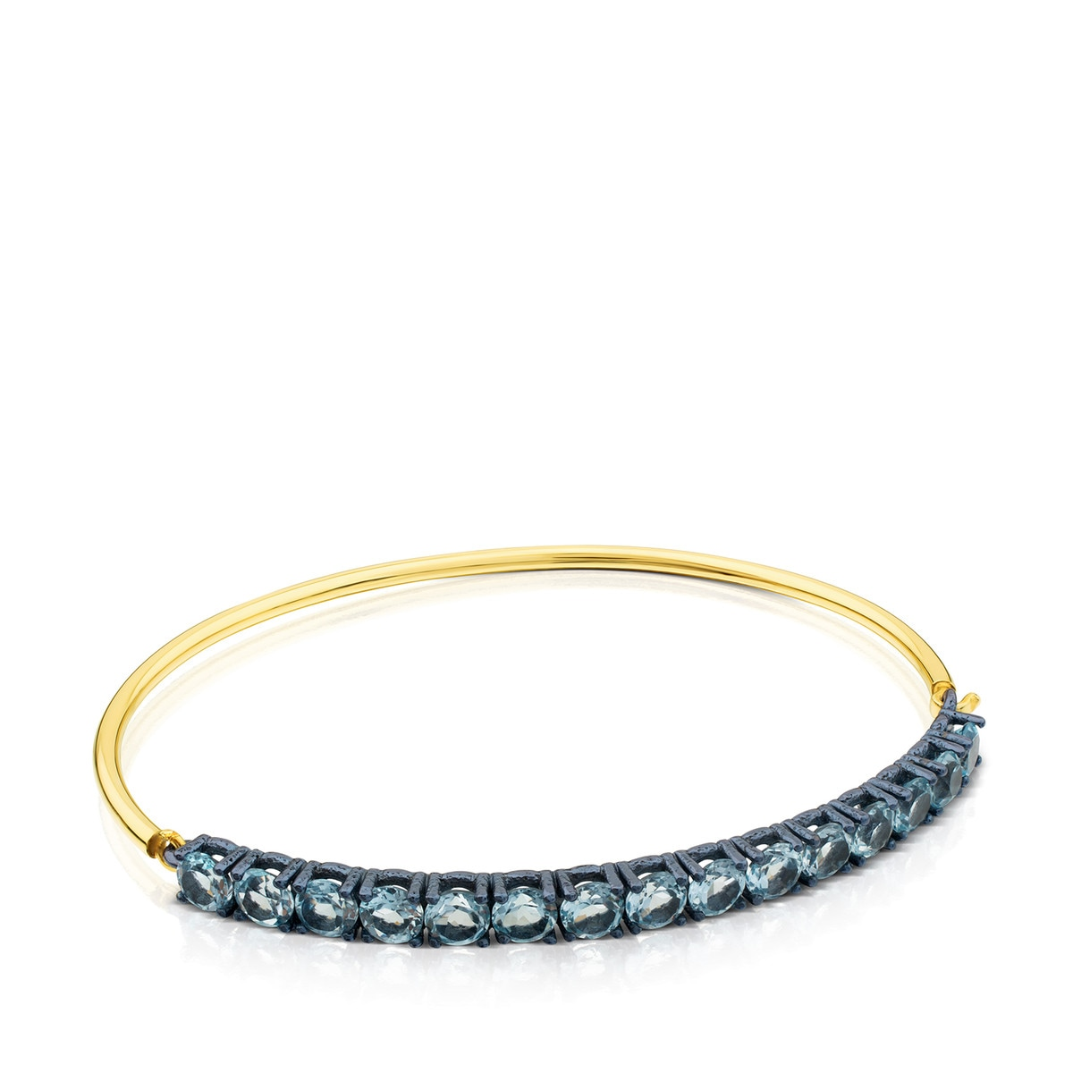 ATELIER Titanium Bangle with Gold and Topazes