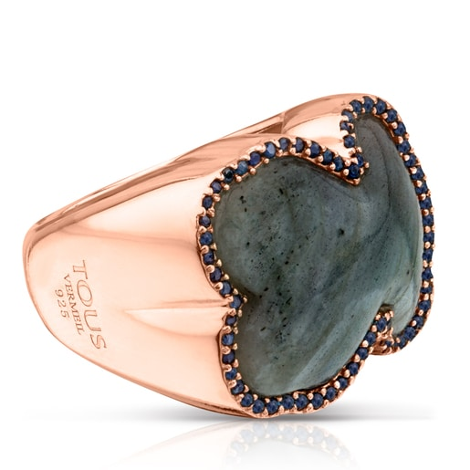 Rose Vermeil Silver Color Power Ring with Labradorite and Sapphires