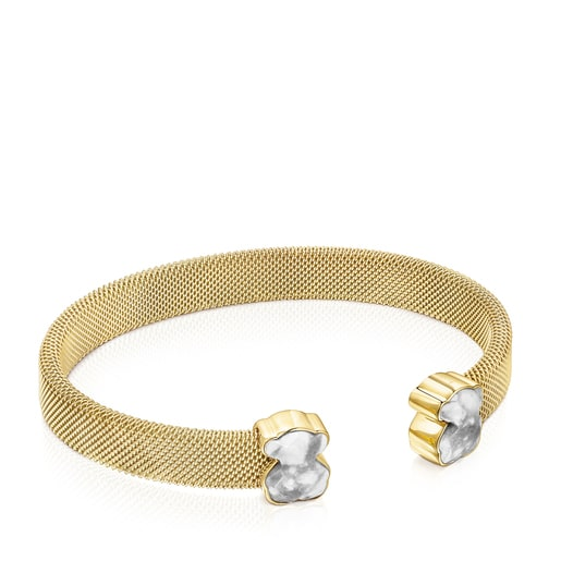 Gold-colored IP Steel Mesh Color Bracelet with Howlite