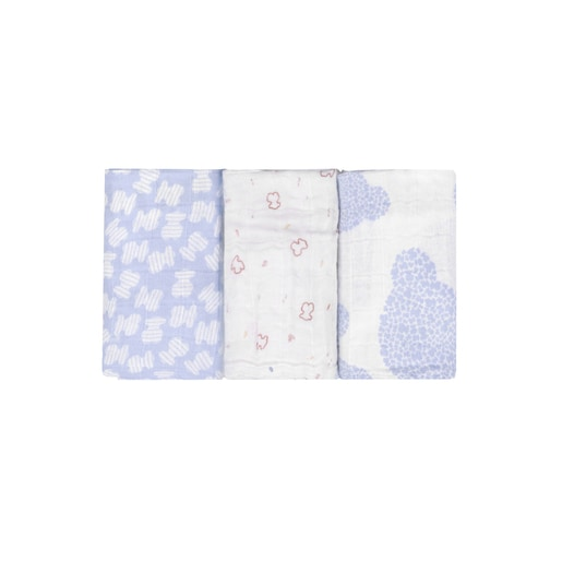 Set of 3 MMuse mini muslin blankets in Sky Blue