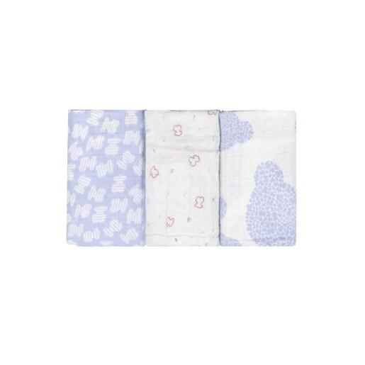 Set of 3 MMuse mini muslin blankets in Sky Blue