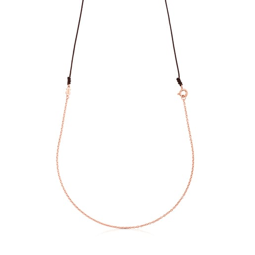 TOUS Chain Choker in Rose Silver Vermeil with brown Cord