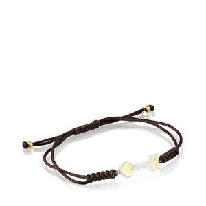 Gold San Valentín arrow Bracelet with Mother-of-pearl and brown Cord
