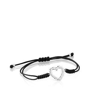 Pulsera San Valentín corazón de Plata y Cordón negro