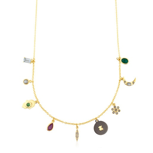 Gold Gem Power Necklace with Gemstones and Diamonds