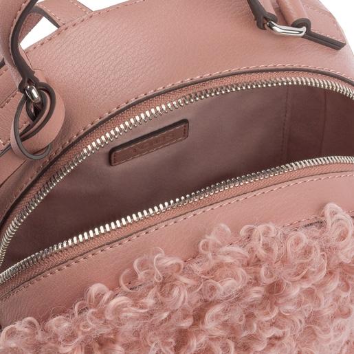 Mochila pequena Dulzena Felpo antique rosa