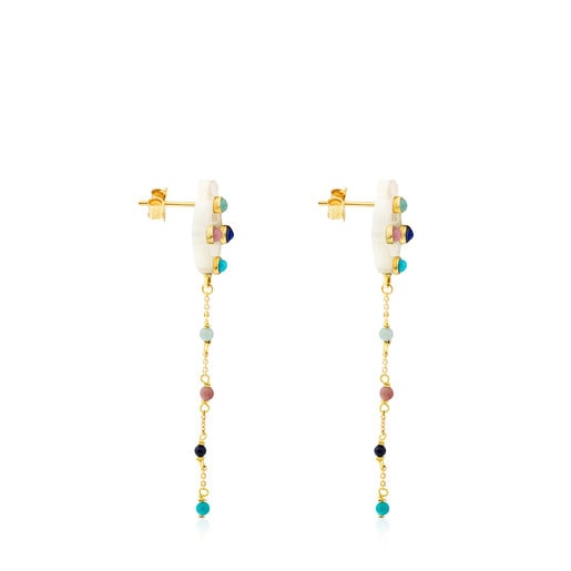Long Gold Super Power Earrings with Mother-of-pearl and Gemstones