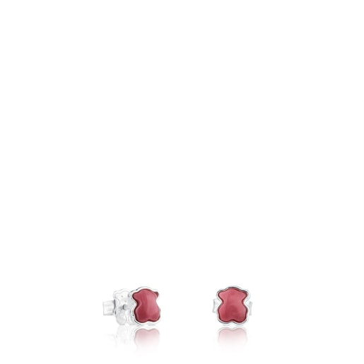 Silver TOUS Color Earrings with rhodonite