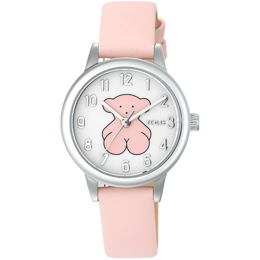 Steel New Muffin Watch with pink Leather strap