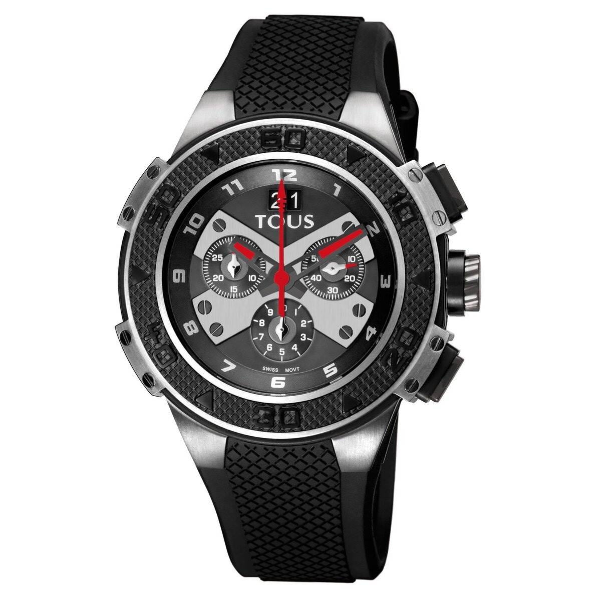 Two-tone black IP/Steel Xtous Watch with black Silicone strap
