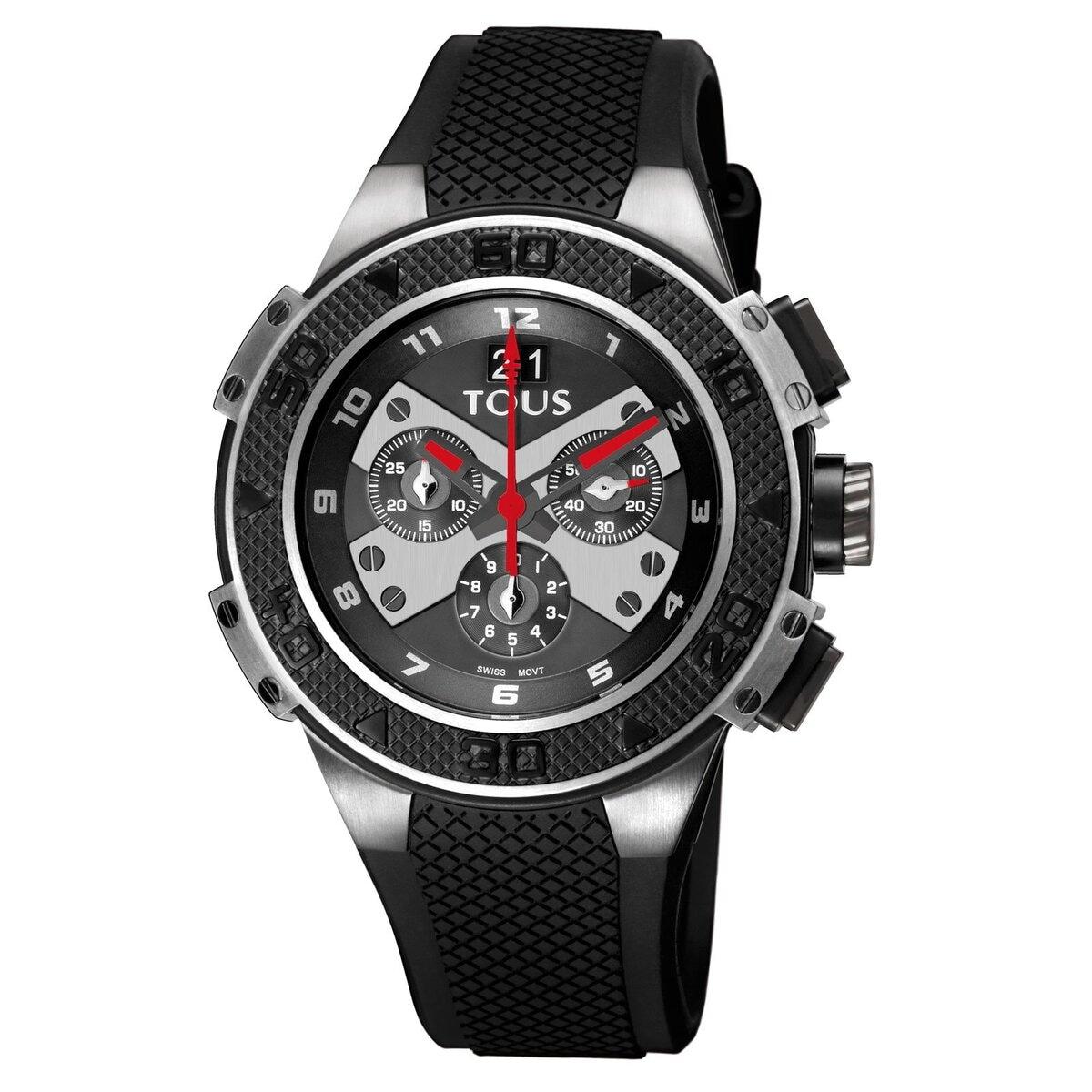 Zweifarbige Uhr Xtous aus schwarzem IP Stahl mit schwarzem Silikonarmband