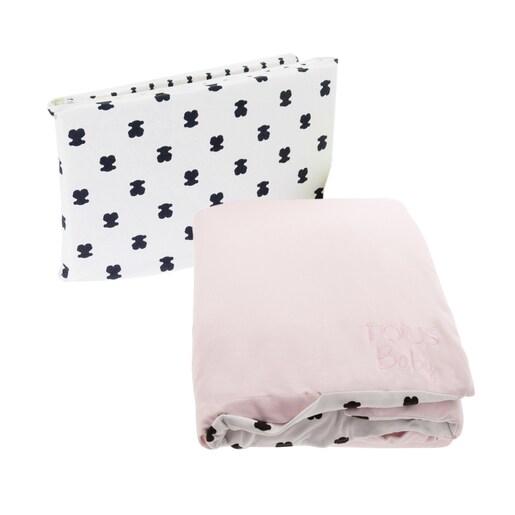Multi Bear duvet and cushioning set in Pink