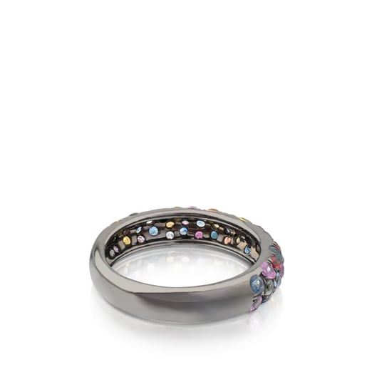 Silver TOUS Fantasy Ring with multicolor sapphires