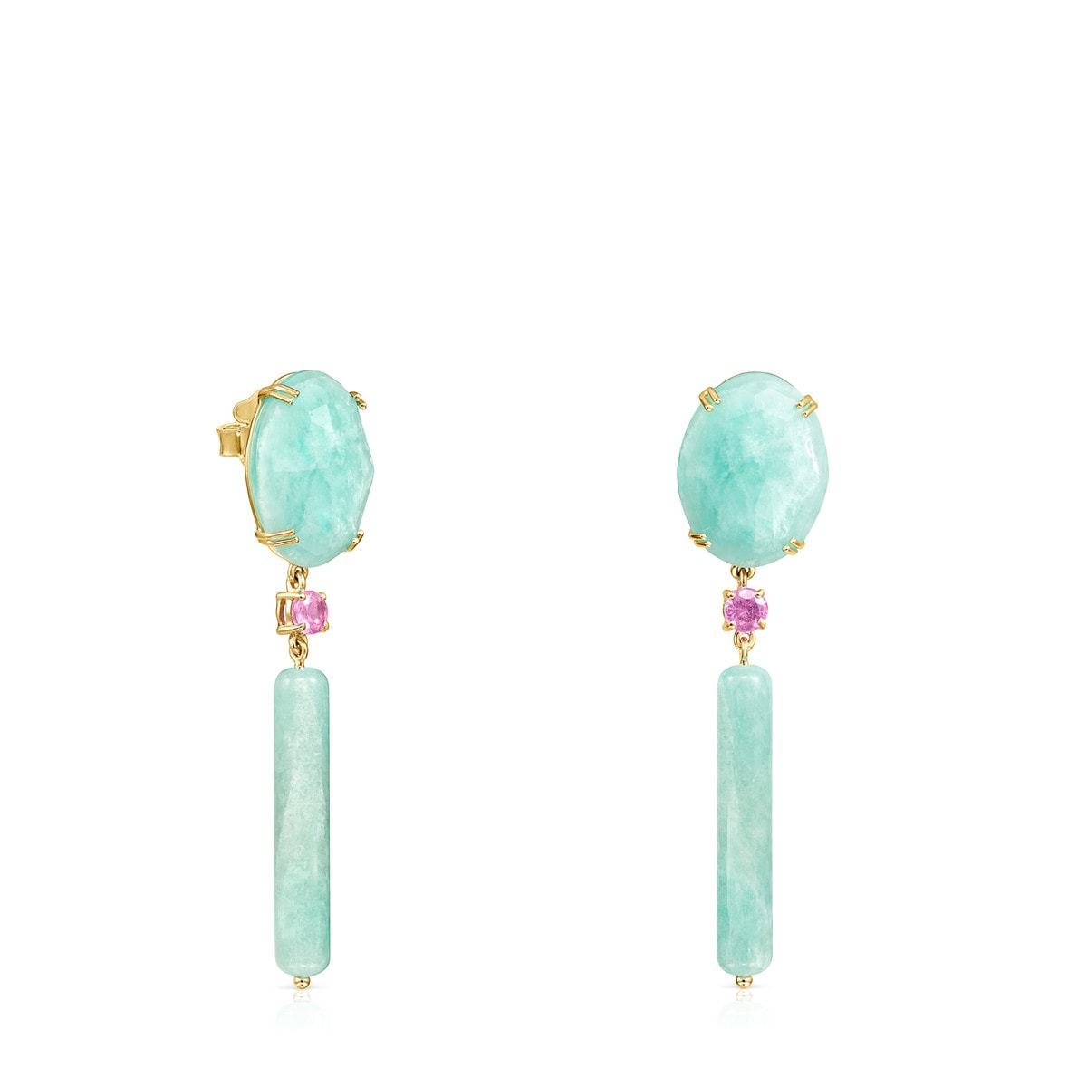 9a9a38b6e70ec5 Long Gold with Amazonite and Ruby Vita Earrings - Tous Site US