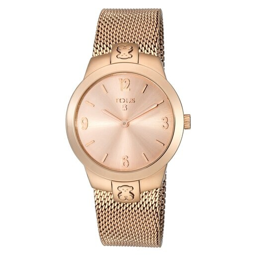 Pink IP Steel T-Mesh Watch